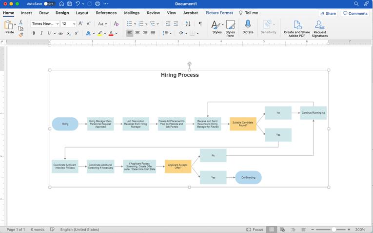 Flowchart In Word  Process Flow Diagram In Word