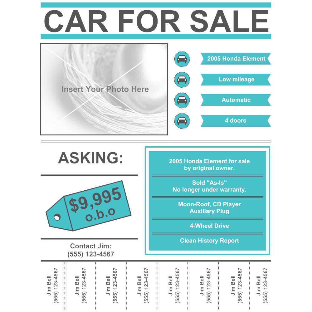for sale by owner sign template - car for sale flyer