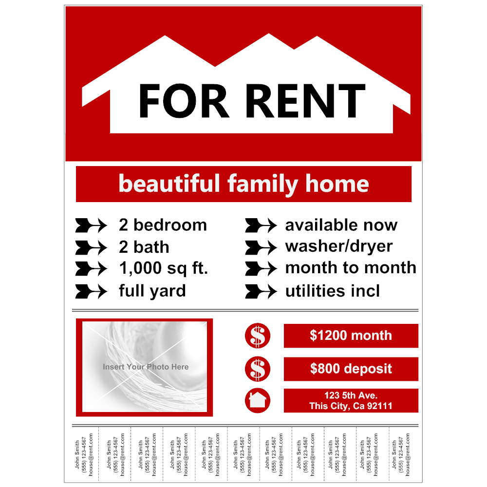 Flyer example for rent for Rental property flyer template