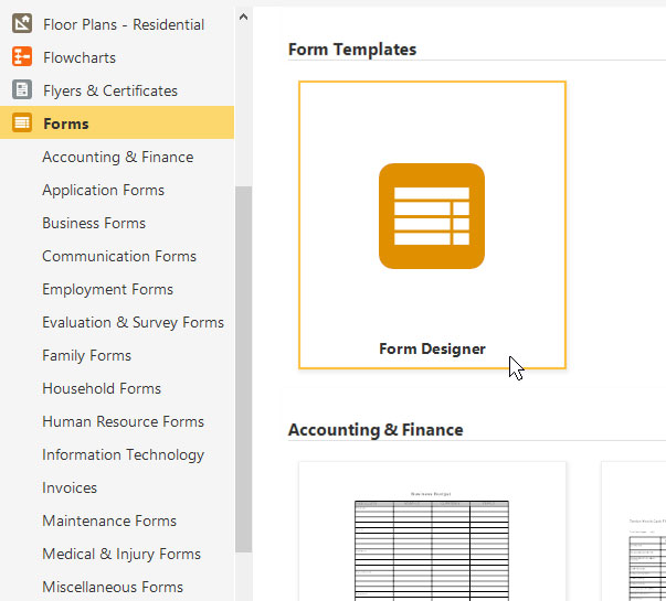 Form software create quote forms invoices more try it free business diagrams smartdraw has free telephone and email support form templates wajeb Images