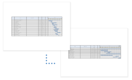 Multiple gantt charts