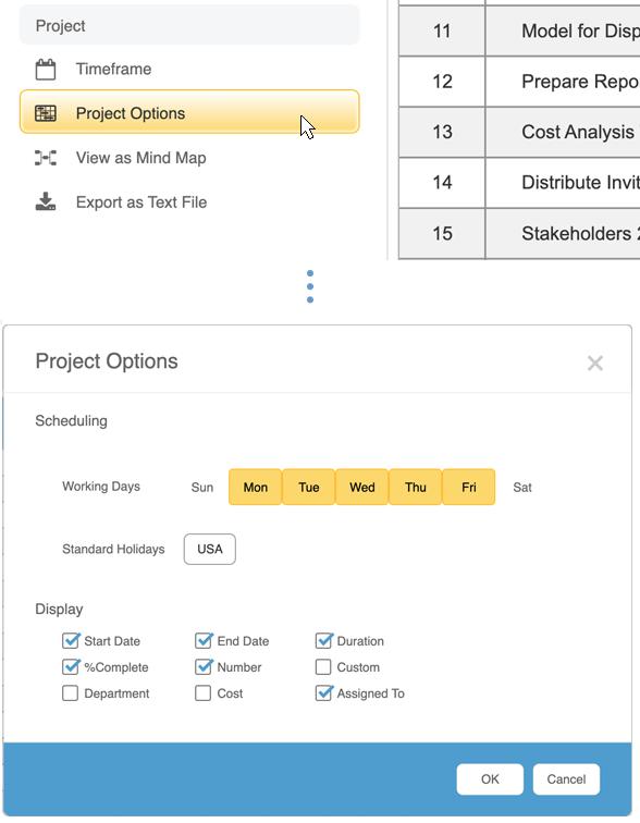 Powerful Gantt chart customization options