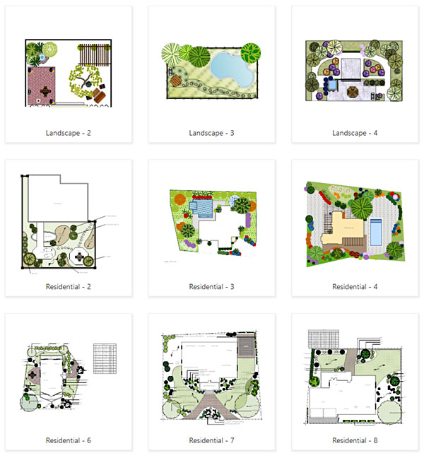 Residential landscape templates