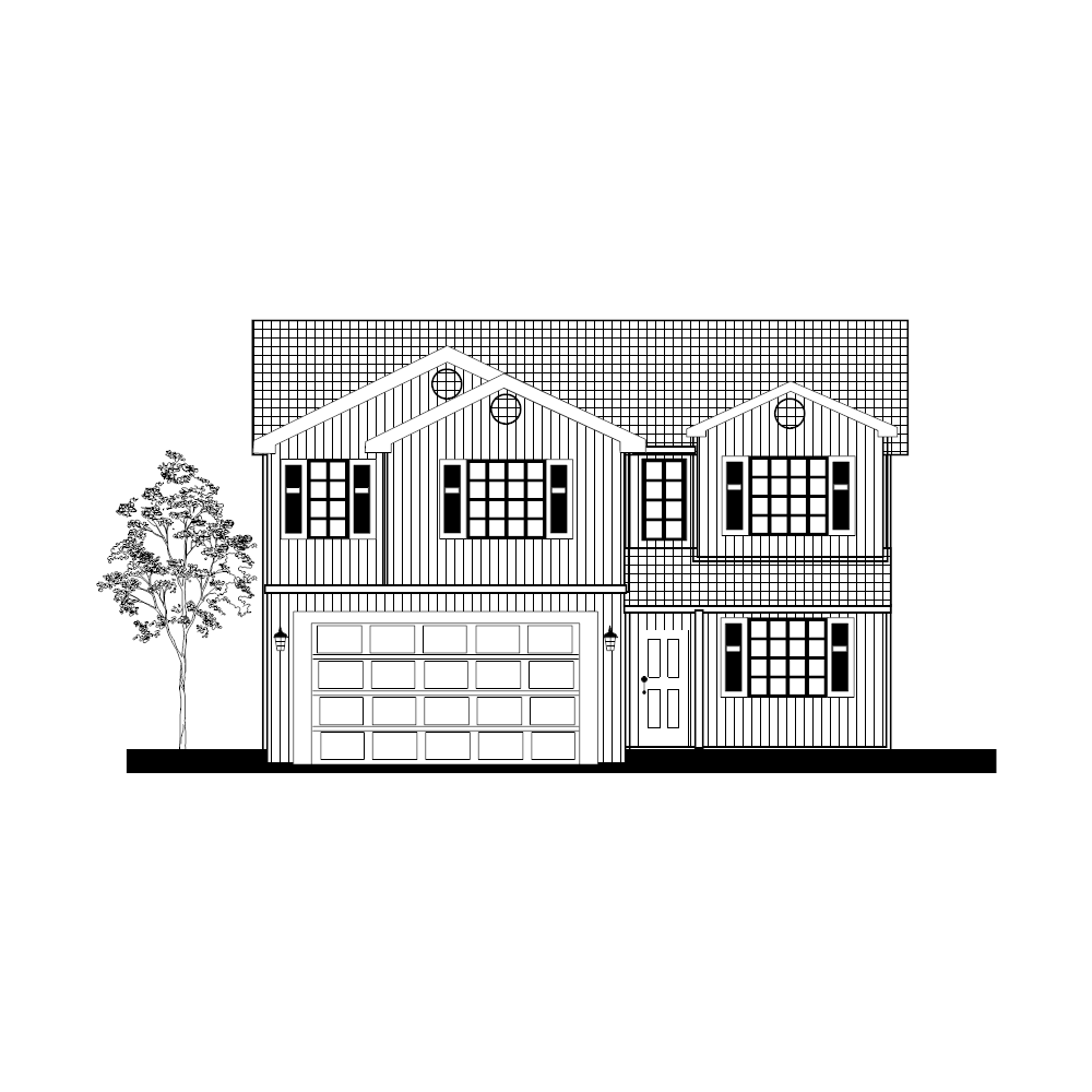 Example Image: House Elevation in B&W