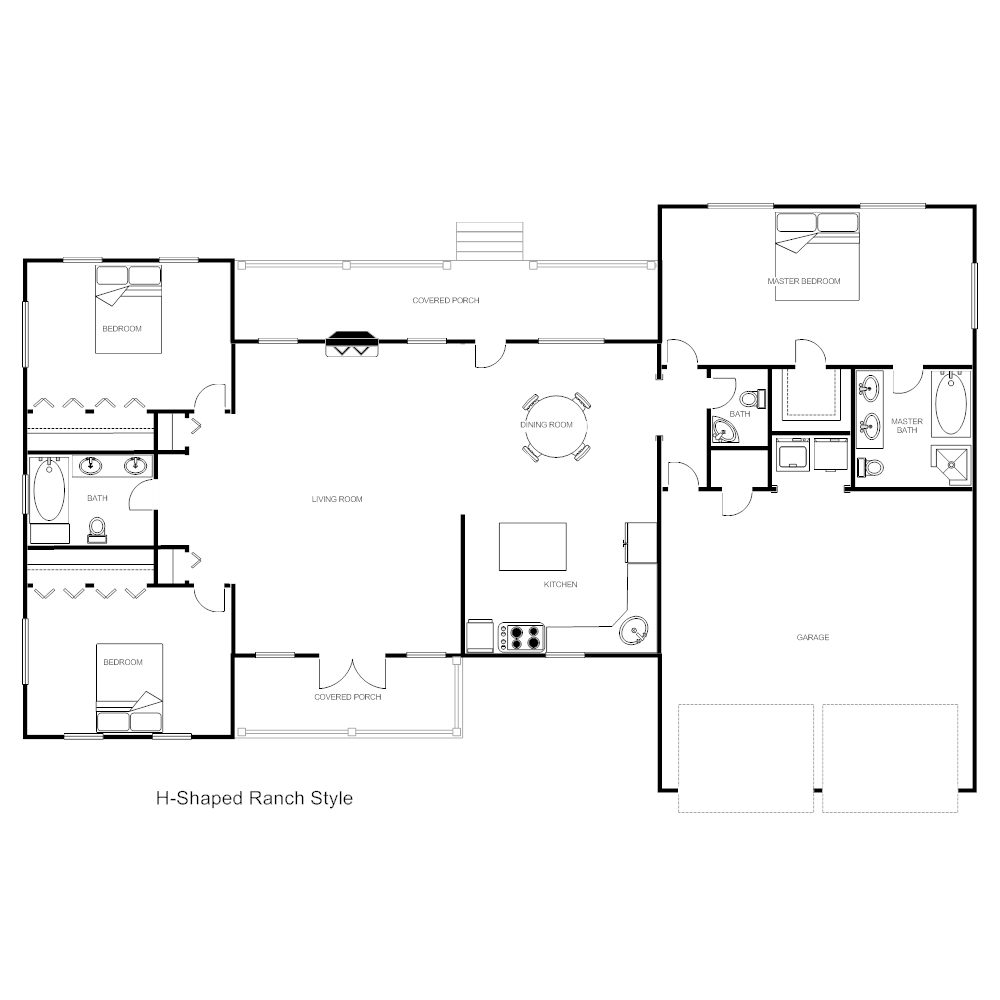 nice h shaped ranch house plans #4: SmartDraw