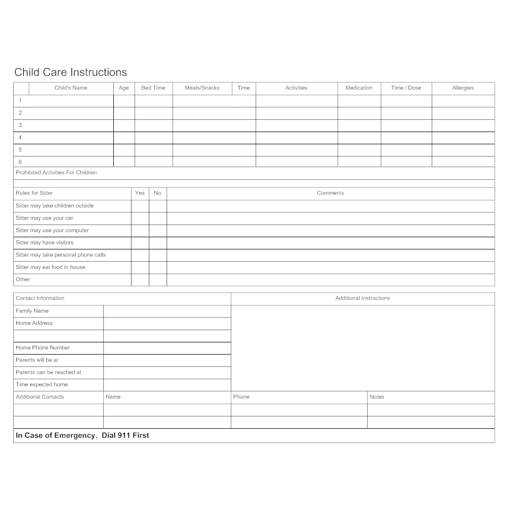Example Image: Child Care Instruction Form