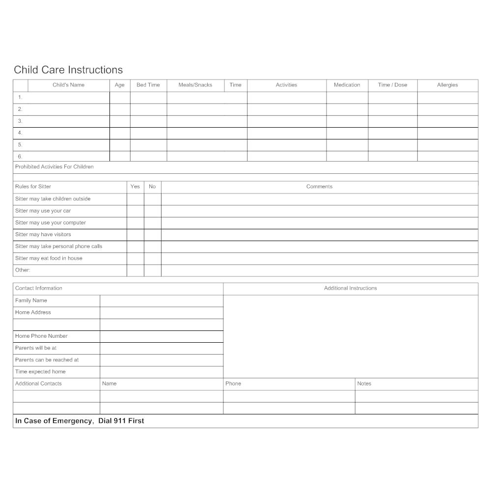 Example Image: Child Care Instruction Form