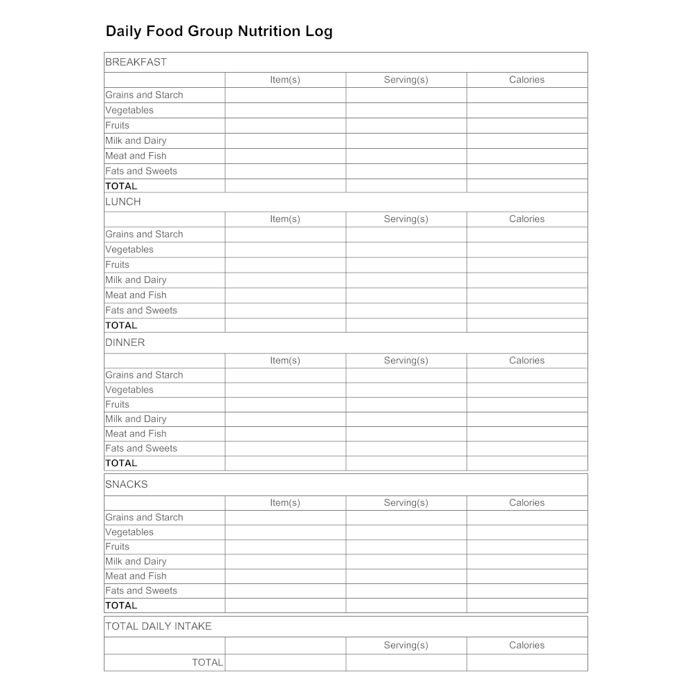Example Image: Daily Food Group Log