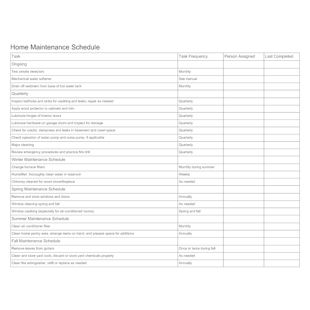Example Image: Home Maintenance Schedule