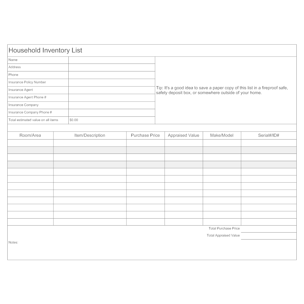 CLICK TO EDIT THIS EXAMPLE · Example Image: Household Inventory List  Inventory List Form