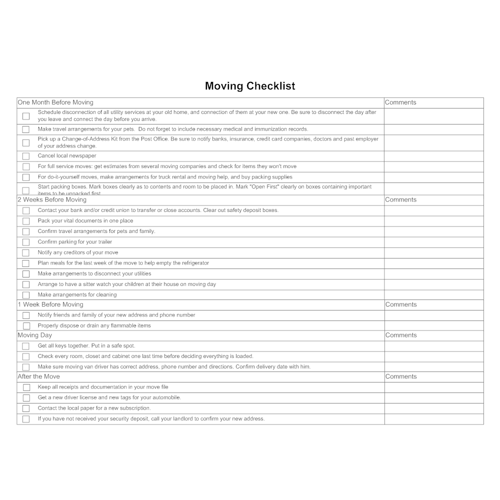 Example Image: Moving Checklist