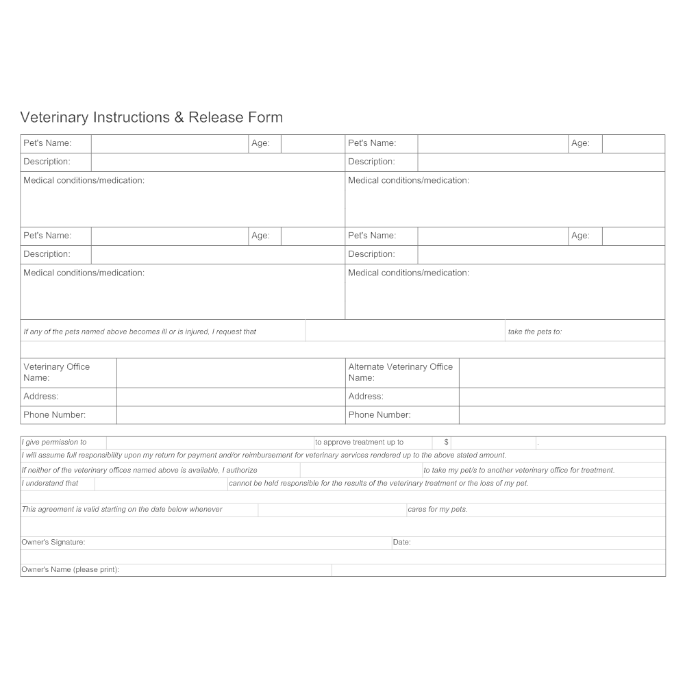 Example Image: Vet Instructions & Release Form