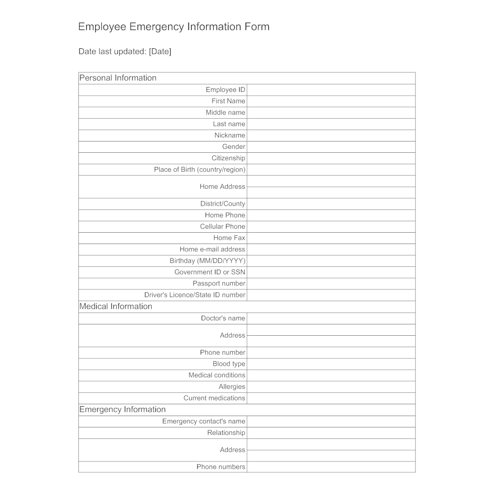 Example Image: Employee Emergency Information Form