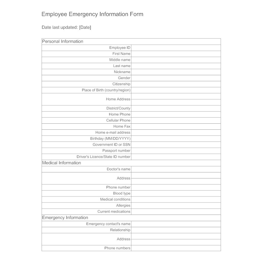 Example Image: Employee Emergency Information Form