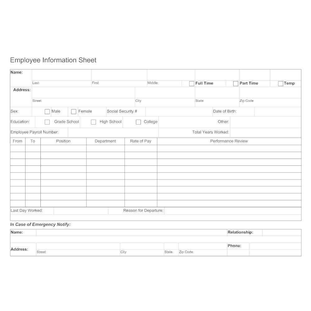 Example Image: Employee Information Sheet 2