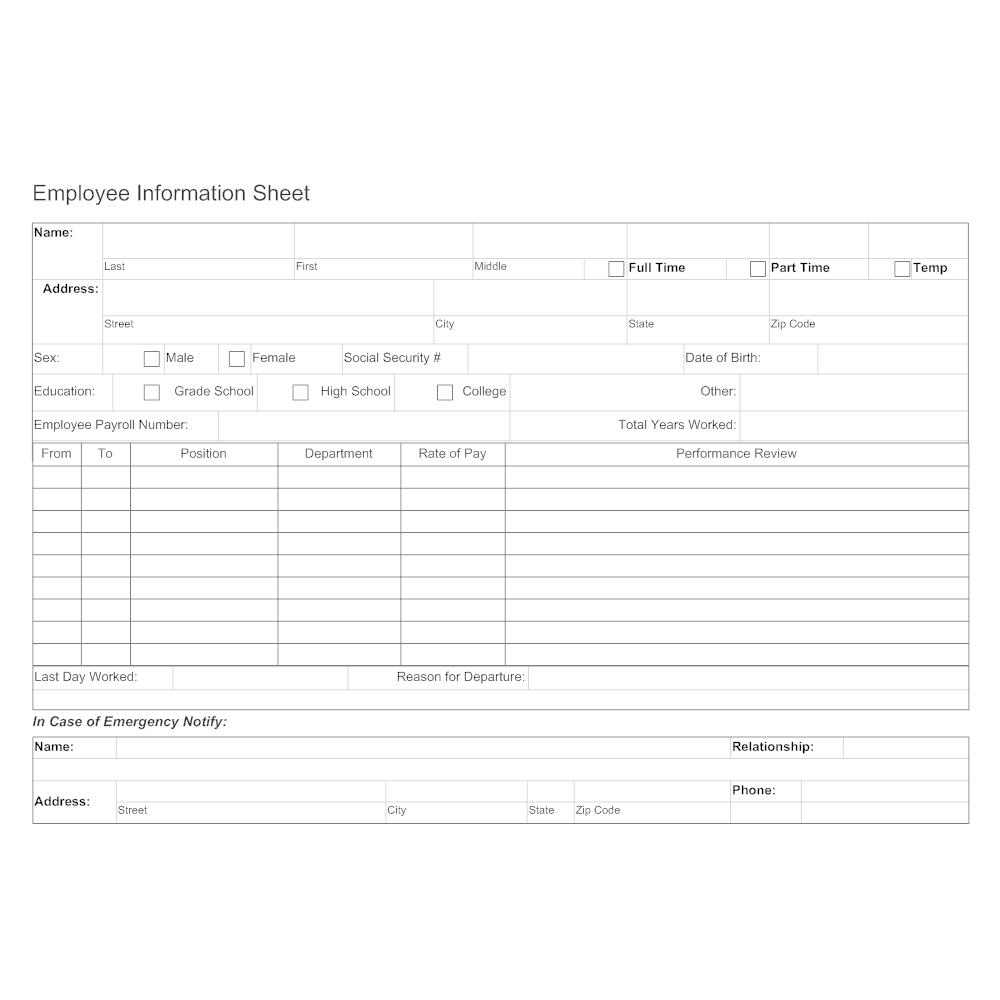 Example Image: Employee Information Sheet 2