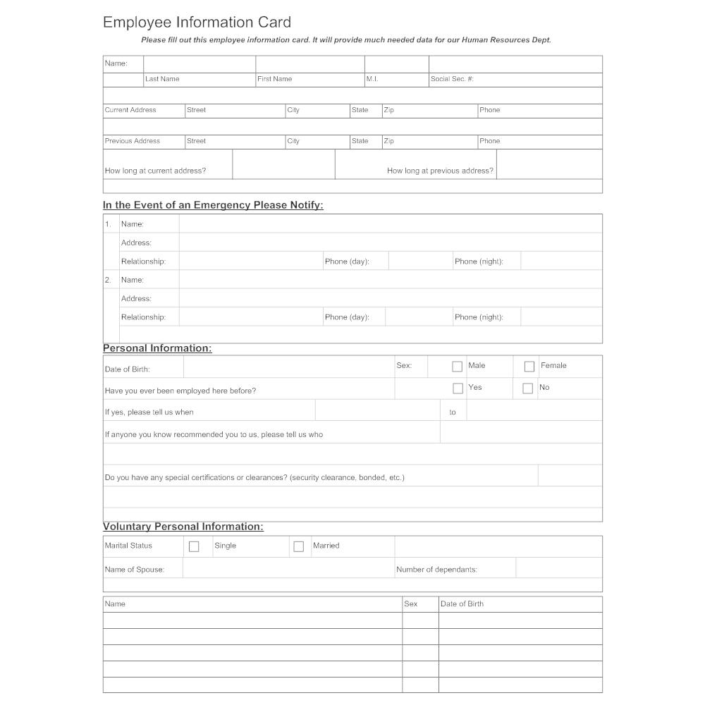 Example Image: Employee Information Sheet