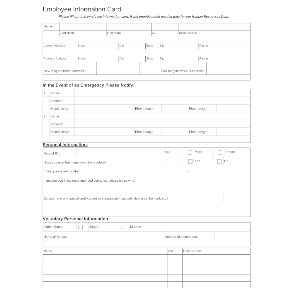 Example Image: Employee Information Sheet