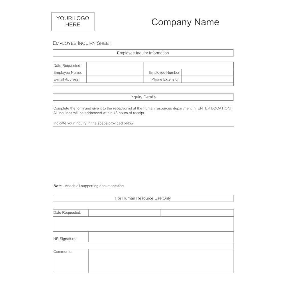 Example Image: Employee Inquiry Sheet