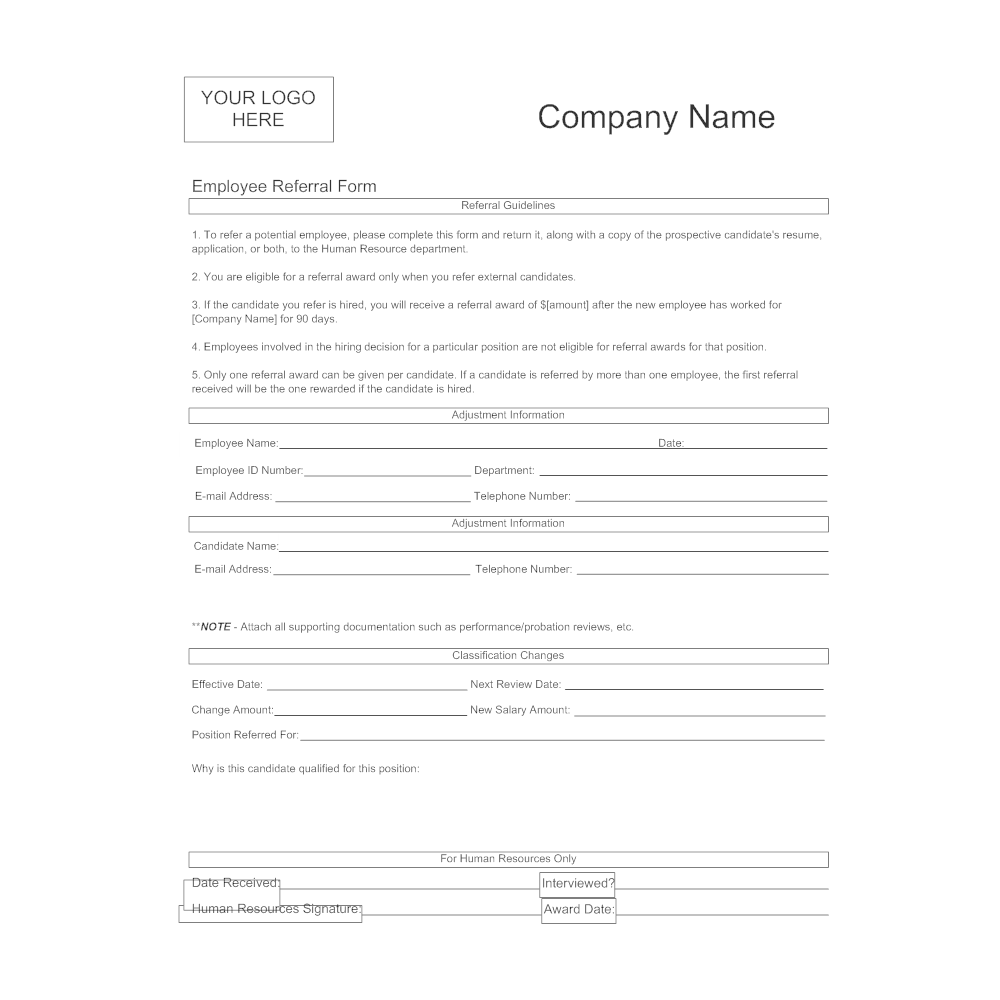 Attractive CLICK TO EDIT THIS EXAMPLE · Example Image: Employee Referral Form