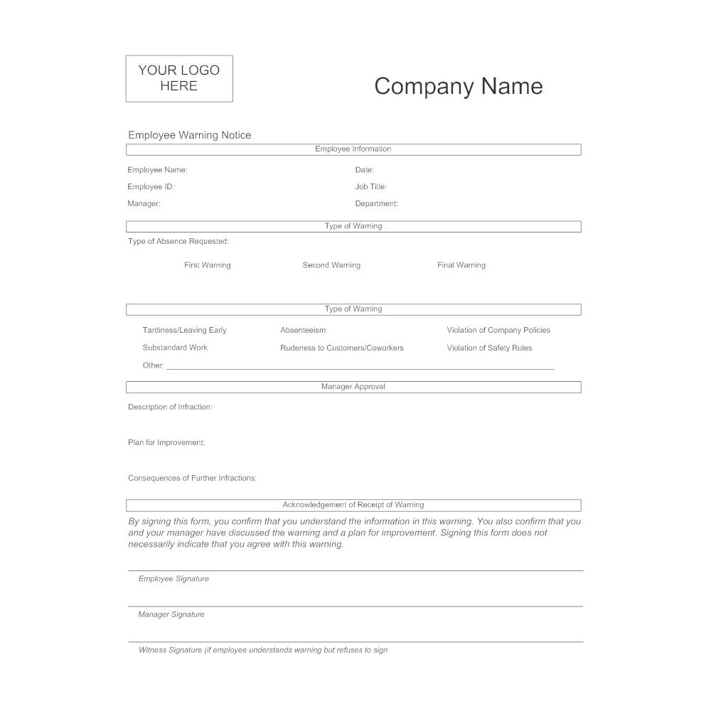 free employee warning notice form