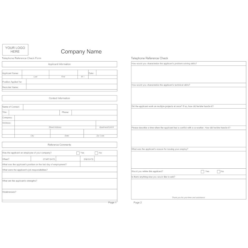 Example Image: Telephone Reference Check Form