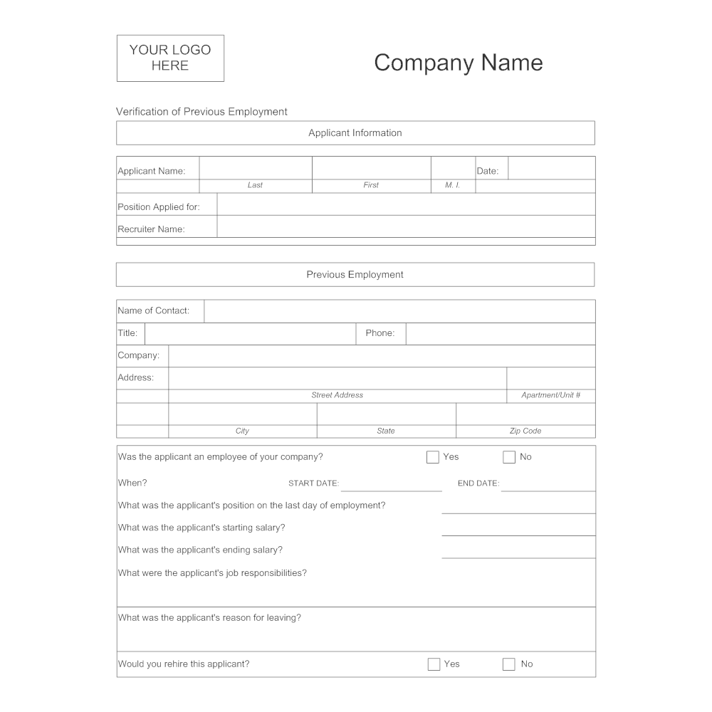 previous employment verification form template