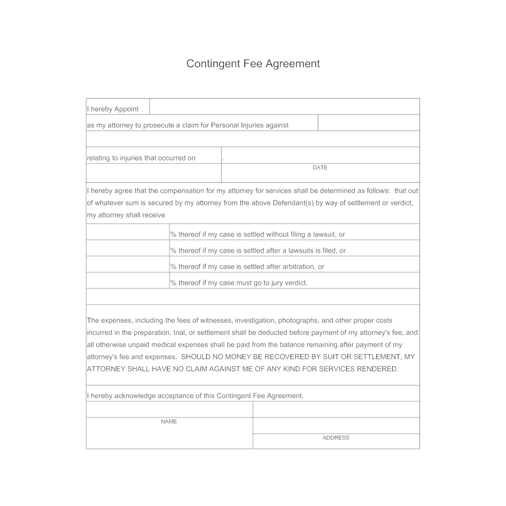 Example Image: Contingent Fee Agreement