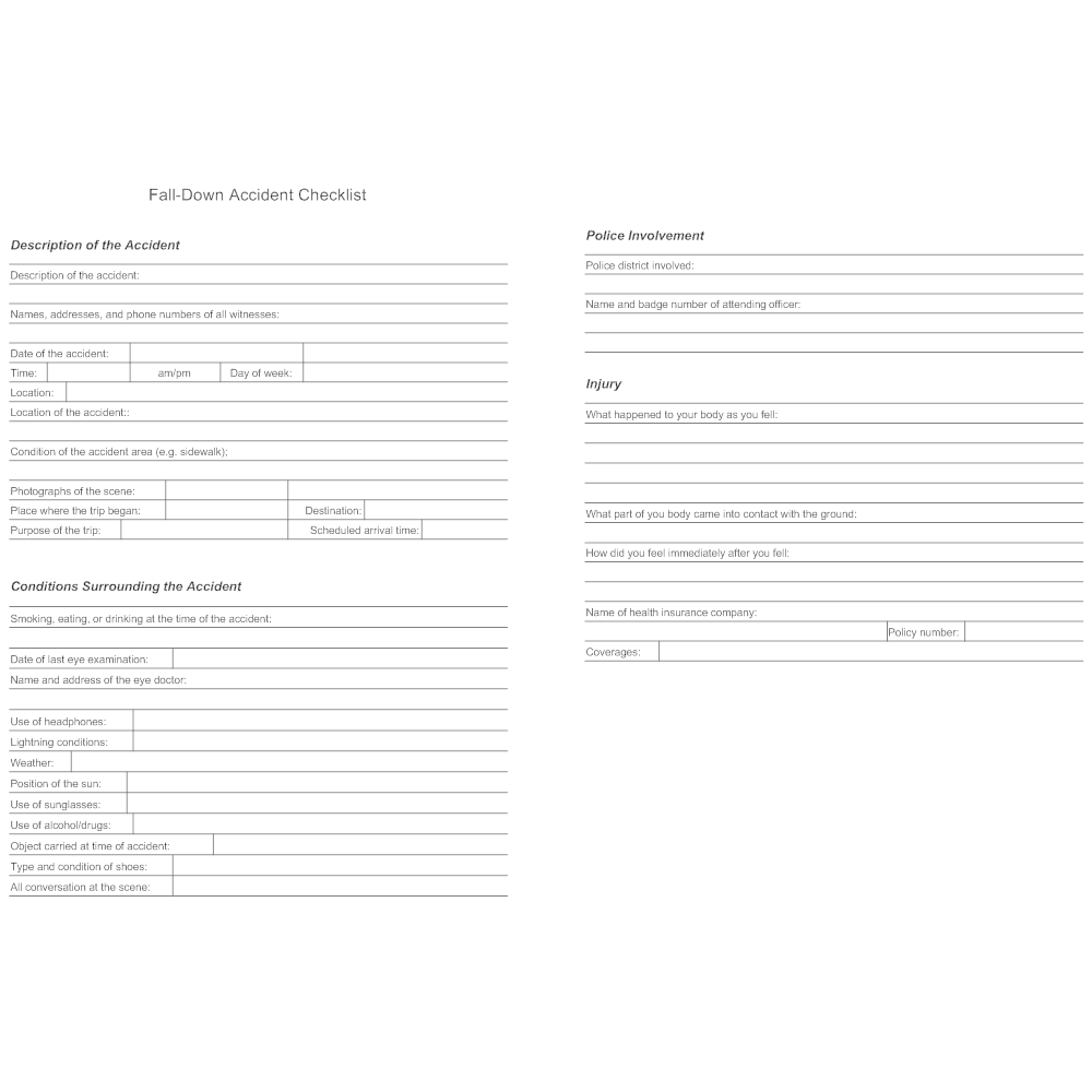 Example Image: Fall-Down Accident Checklist