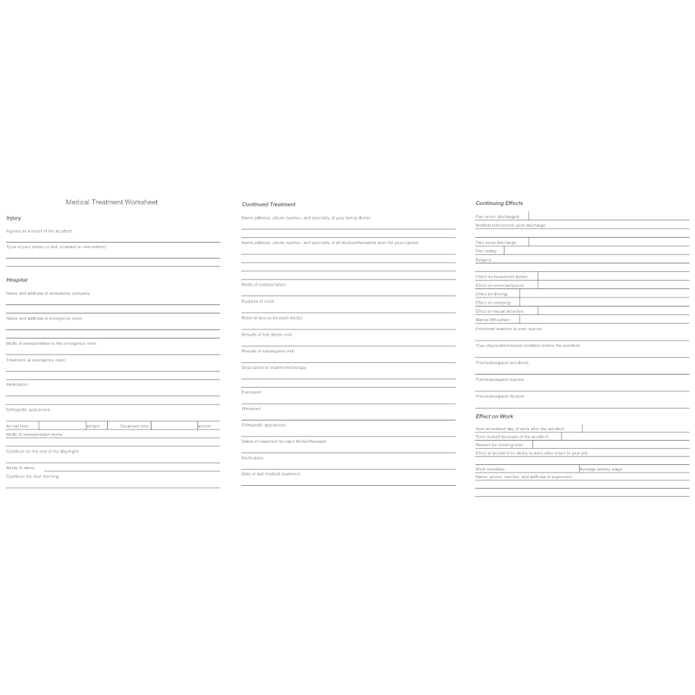 Medical Treatment Worksheet