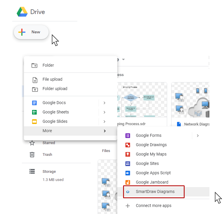 Create new SmartDraw diagrams from Google Drive