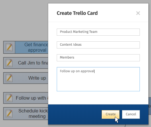 Trello cards will be connected in real time to your project chart