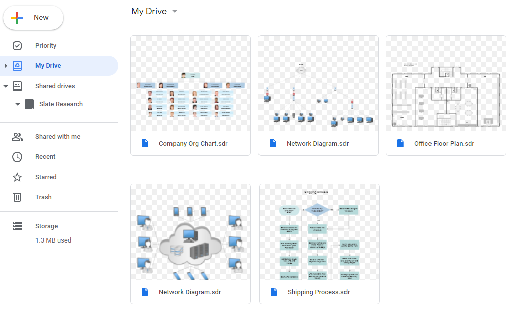 Diagrams with previews in Google Drive