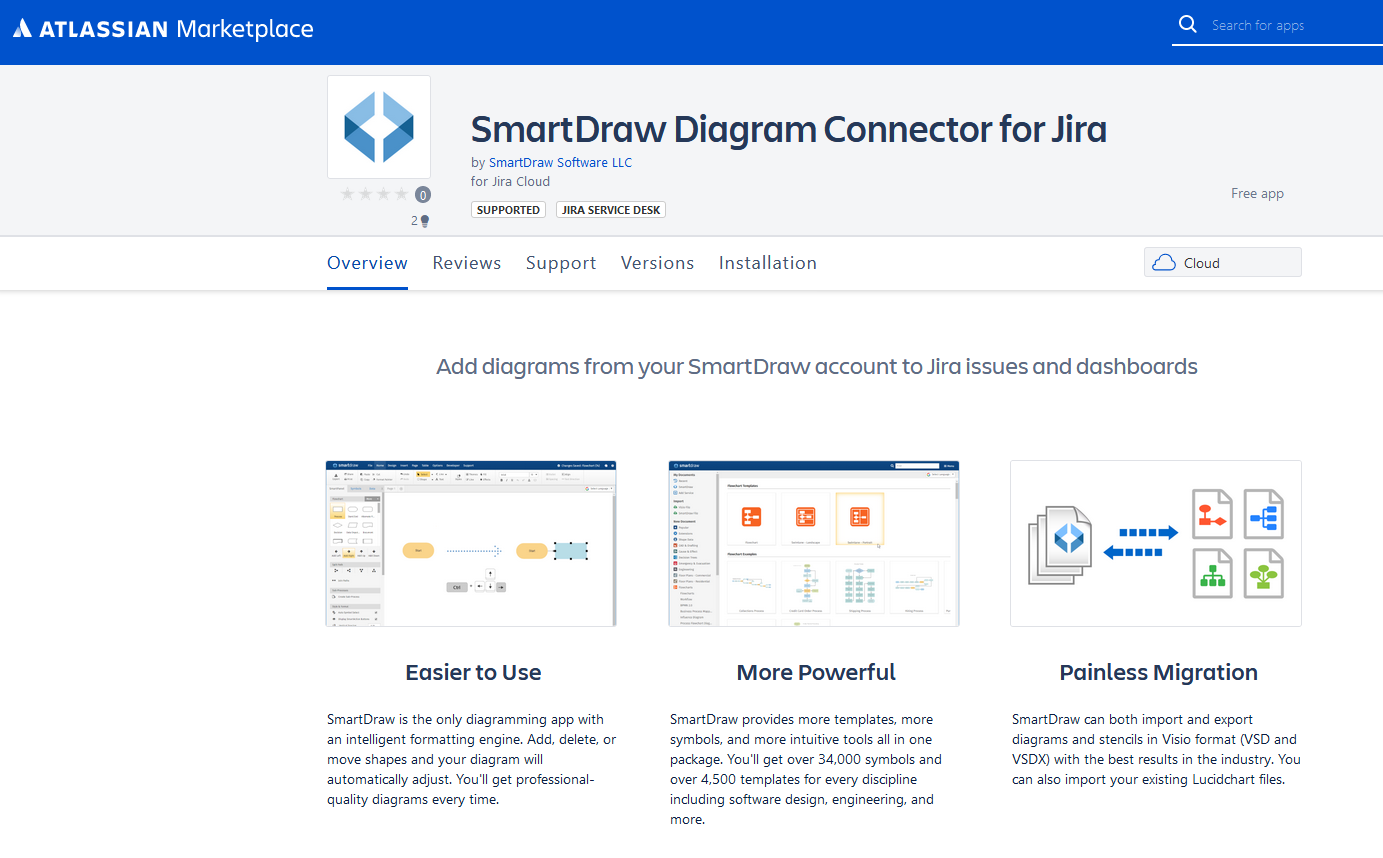 SmartDraw Connector for Jira in the Atlassian Marketplace