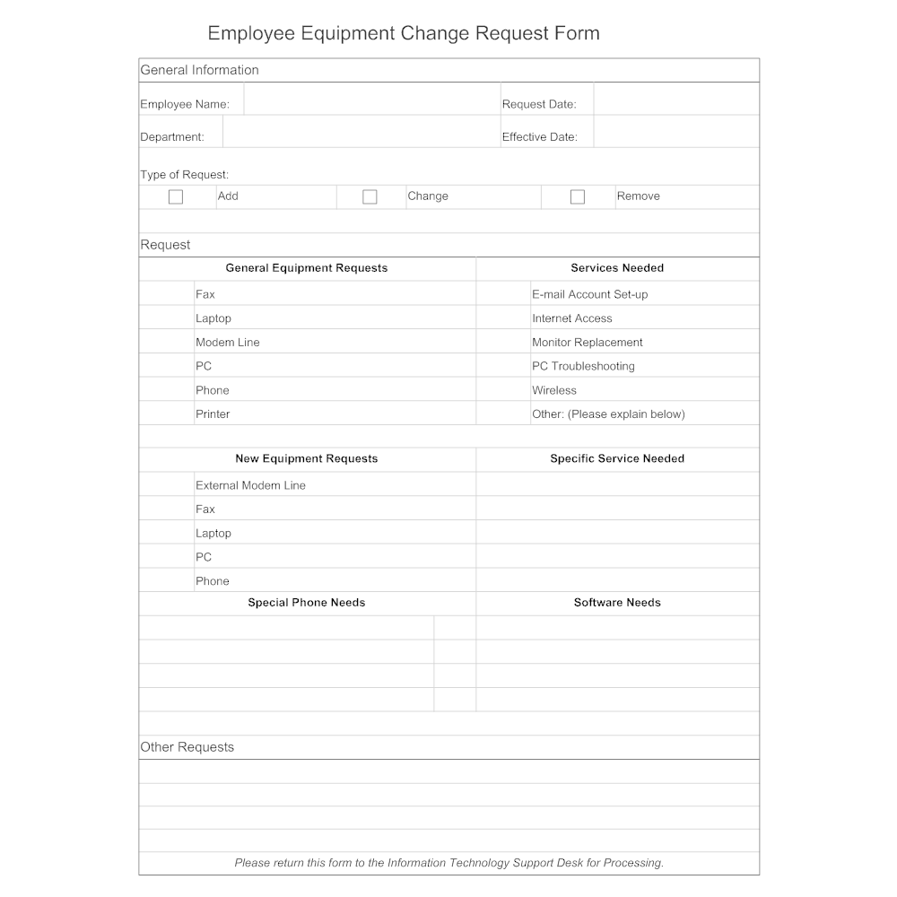 user access request form template - employee equipment change request