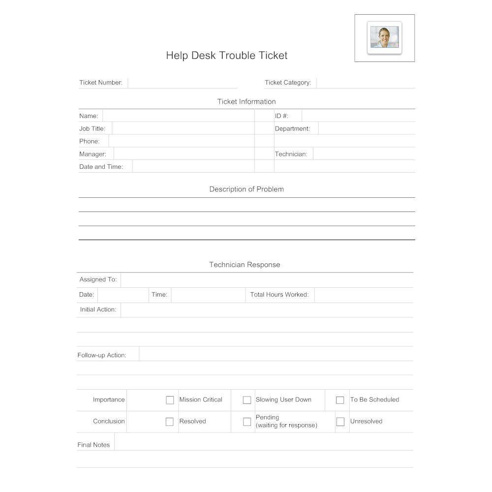 Example Image: Help Desk Trouble Ticket