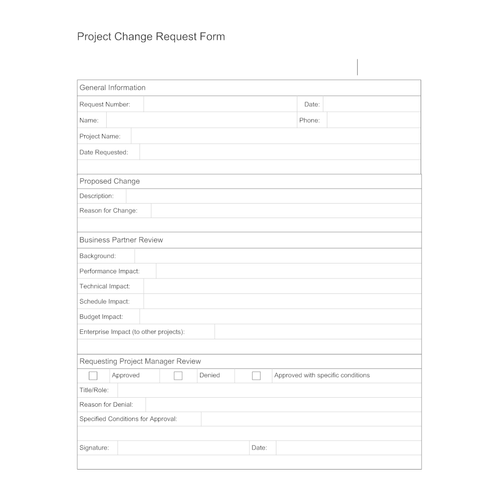 Project Change Request on change management form sample, project initiation form sample, project task form sample, project change order template, project implementation form sample,