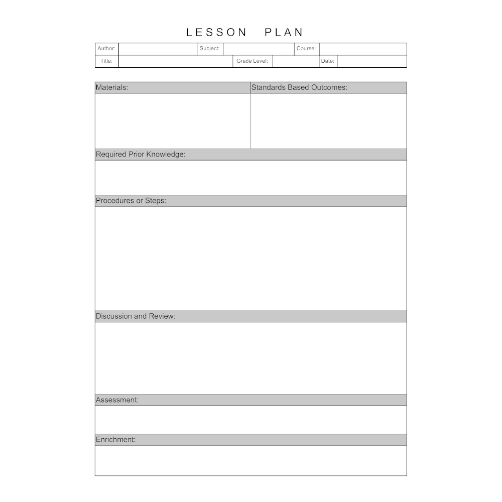 Example Image: Lesson Plan Template