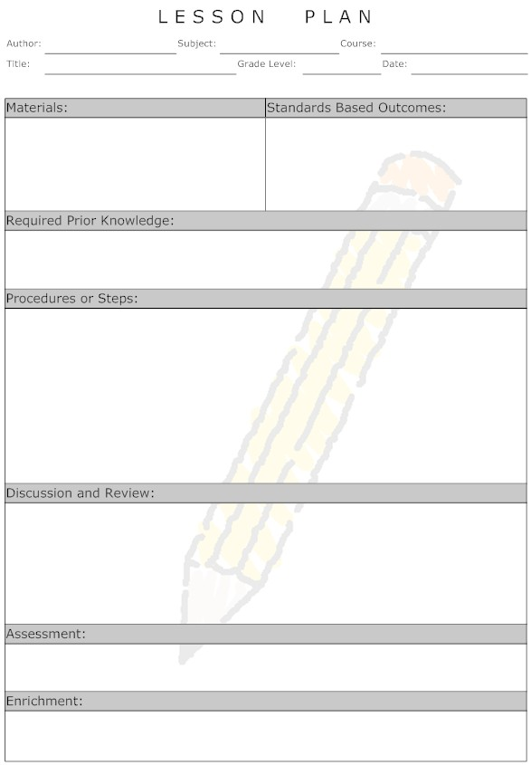 Daily Lesson Plan Template Free Roho4senses