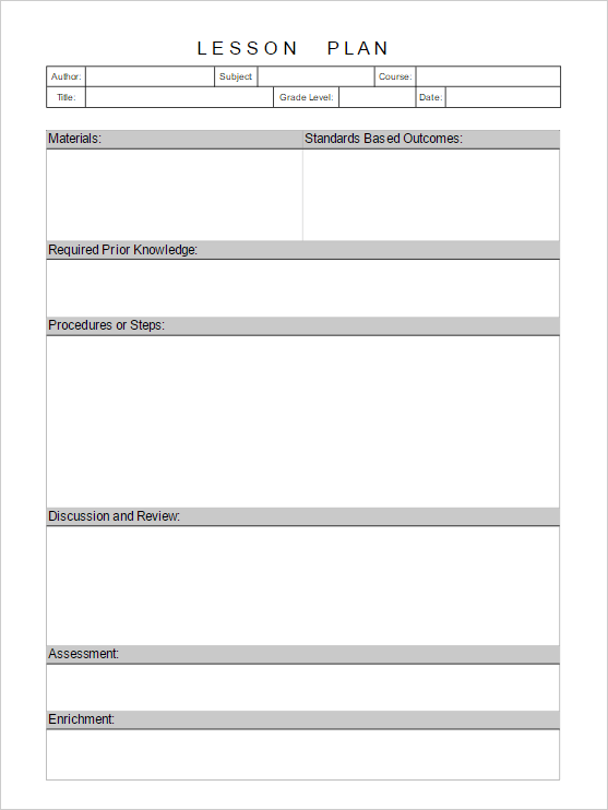 online lesson plan template