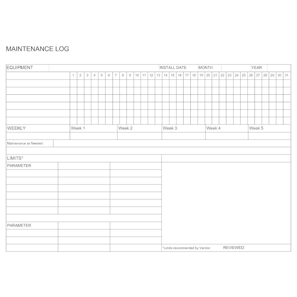 Example Image: Maintenance Equipment Log