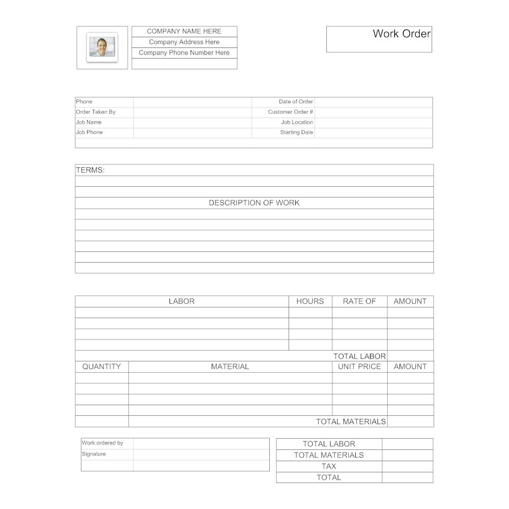 Example Image: Maintenance Work Order Form