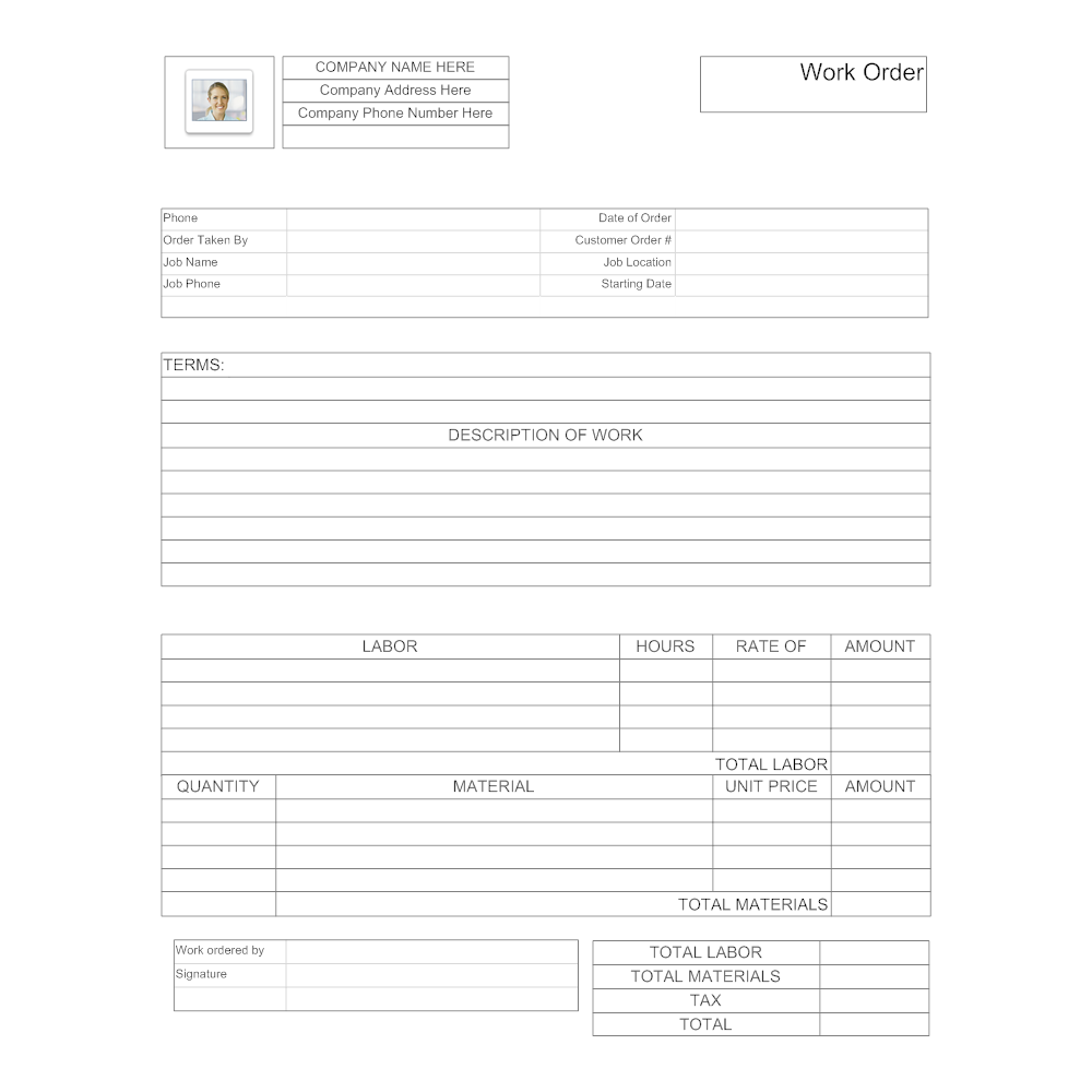 Example Image: Maintenance Work Order Form