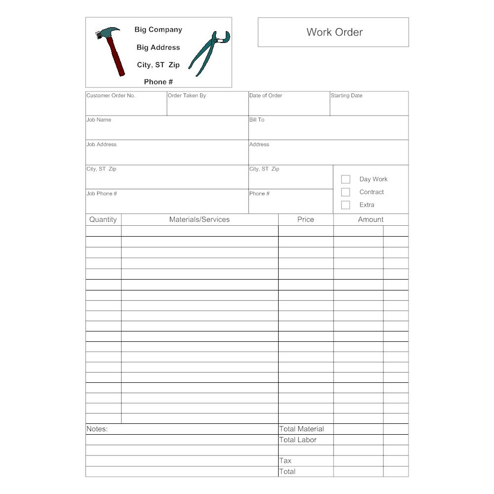 Maintenance Work Order Form | Work Order Form