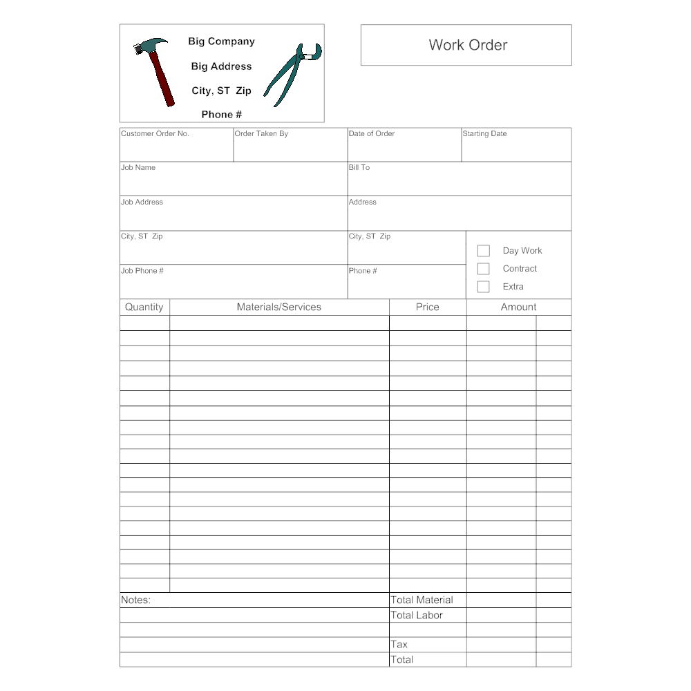 Example Image: Work Order Form