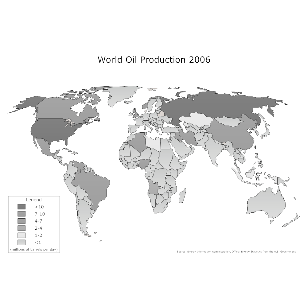 Petroleum Site Map Example: World Oil Production Map