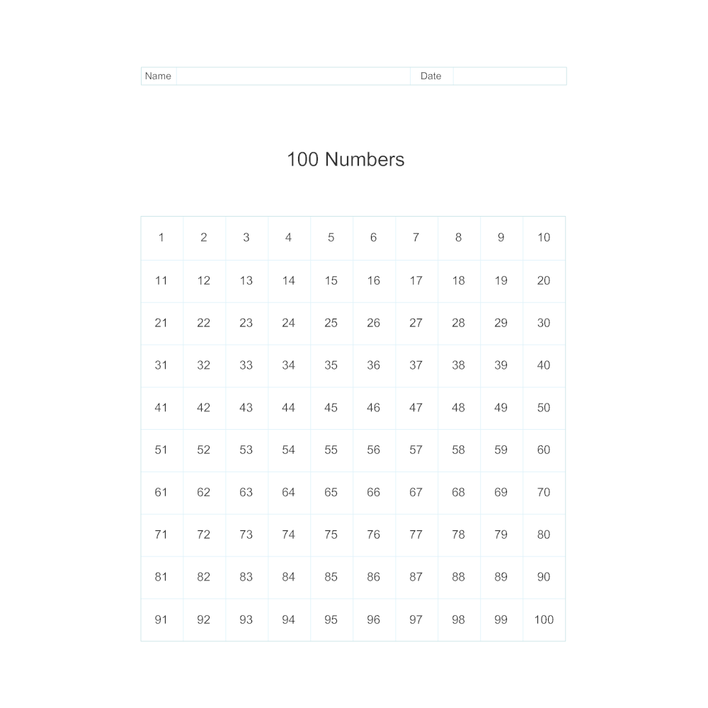 Example Image: 100 Numbers
