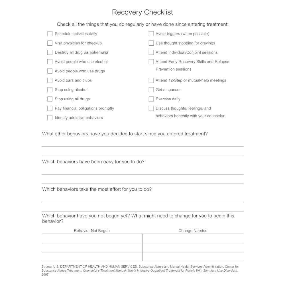 Example Image: Recovery Checklist