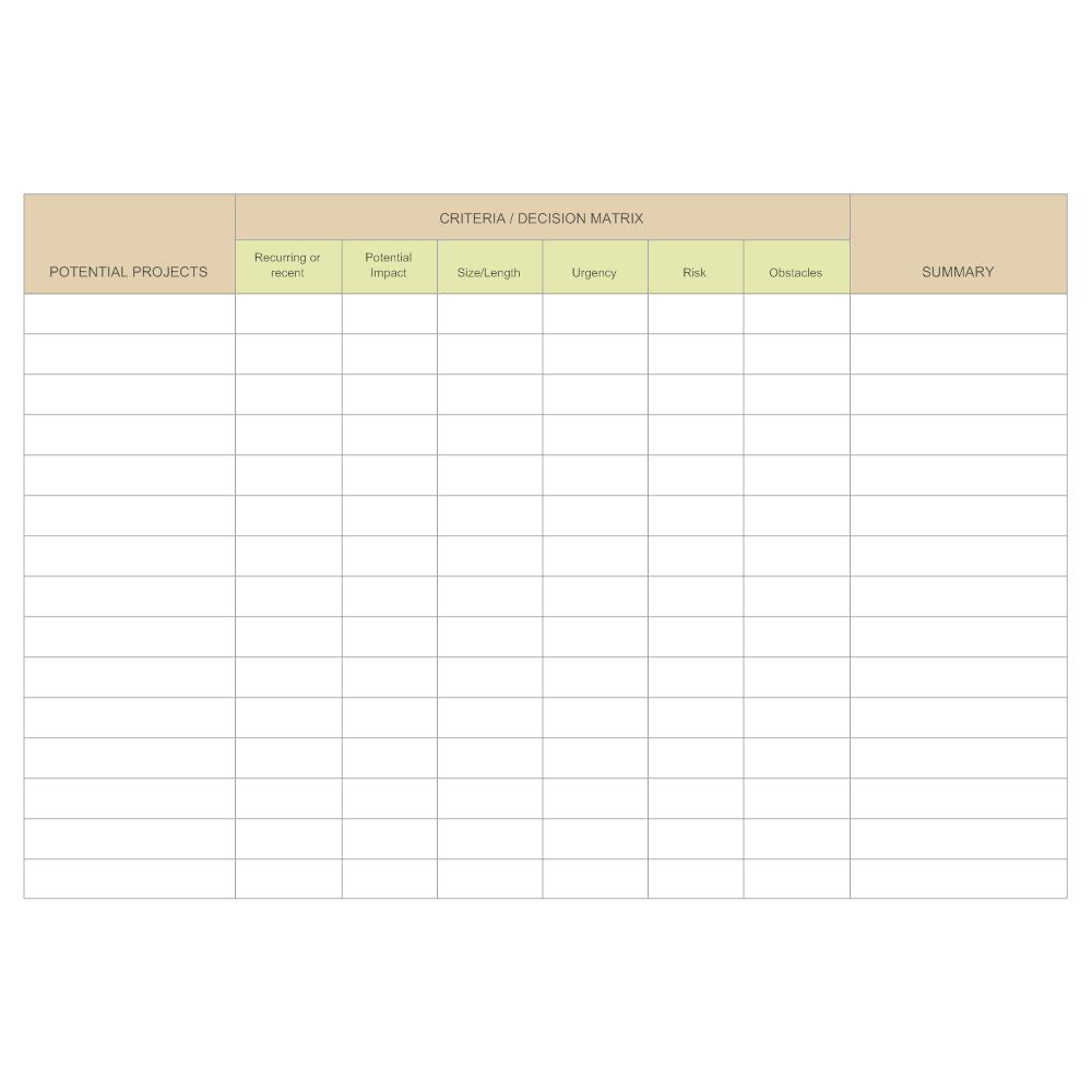 Example Image: Criteria Decision Matrix