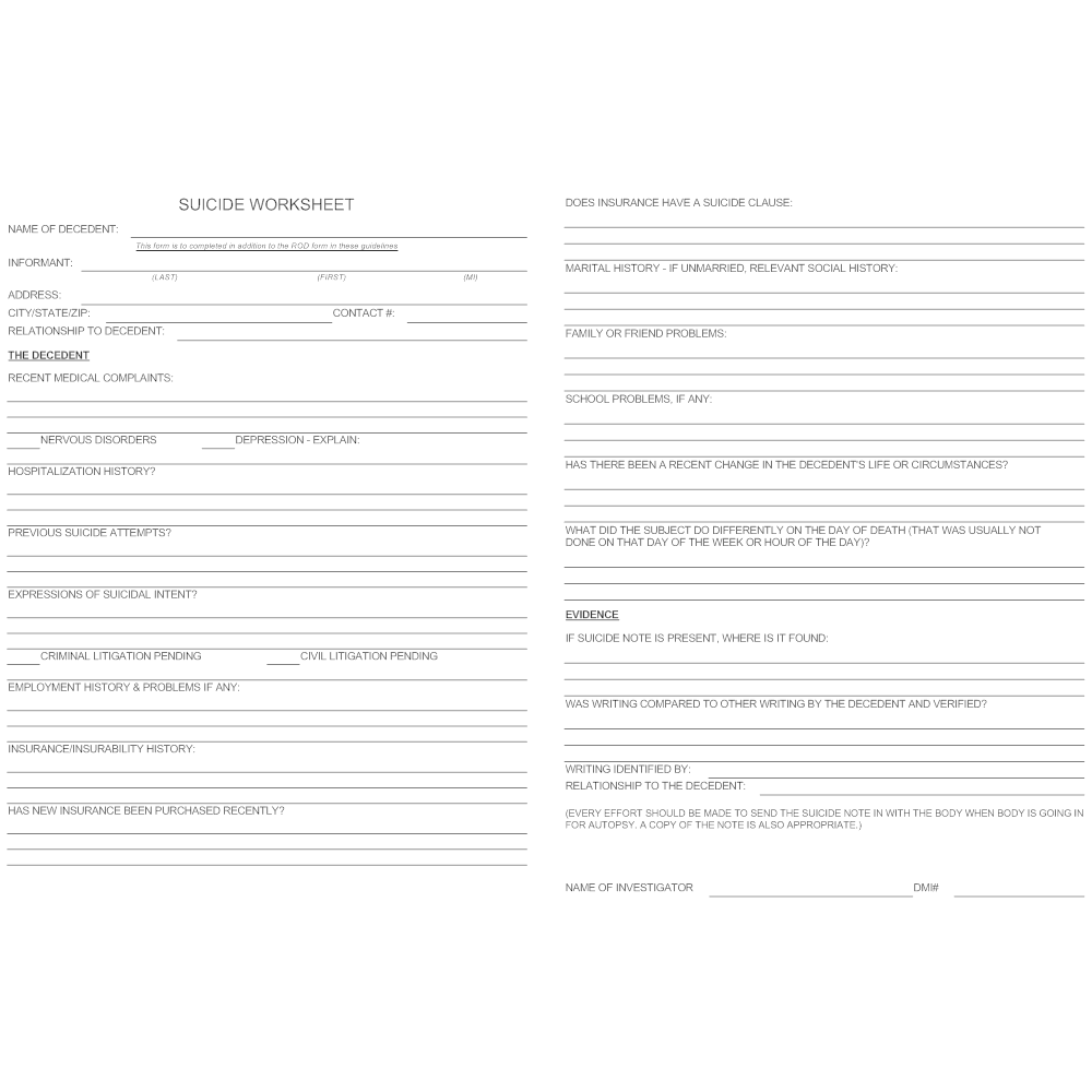 Example Image: Suicide Worksheet